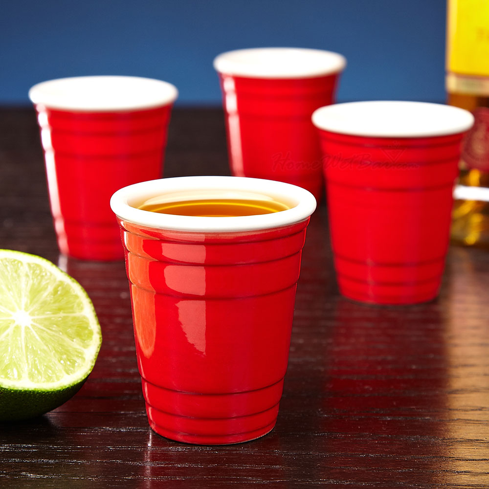 Red Cup Ceramic Shotglasses