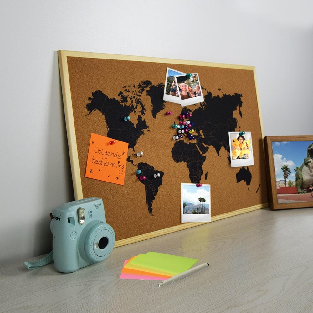 Wereldkaart Prikbord - Kurk