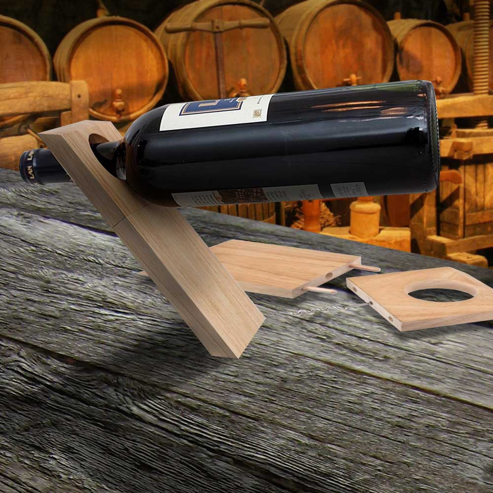 Balance bottle holder & Corkscrew | Megagadgets.nl