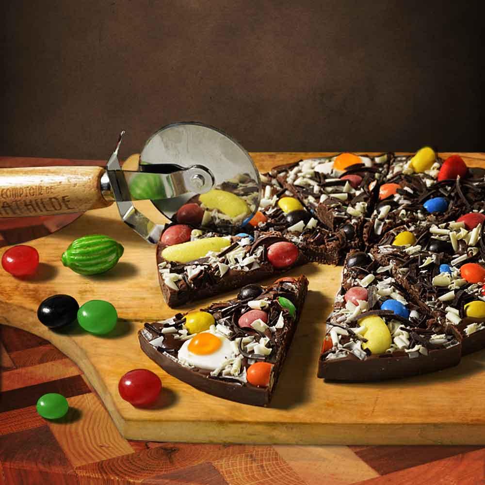 Chocolade Pizza met Snijder