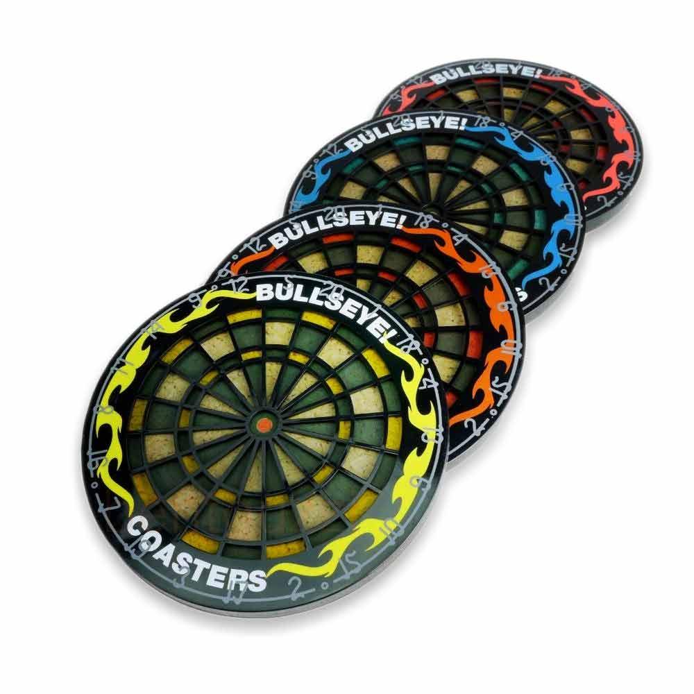 Leuke onderzetters in de vorm van een dartbord in 4 verschillende kleuren