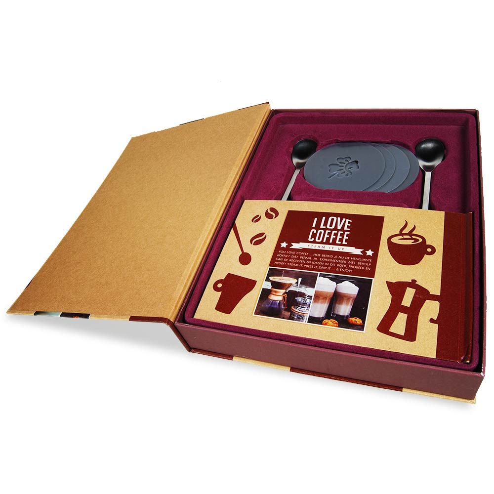 Inhoud van de I Love Coffee Cadeaubox om de lekkerste kopjes koffie te maken