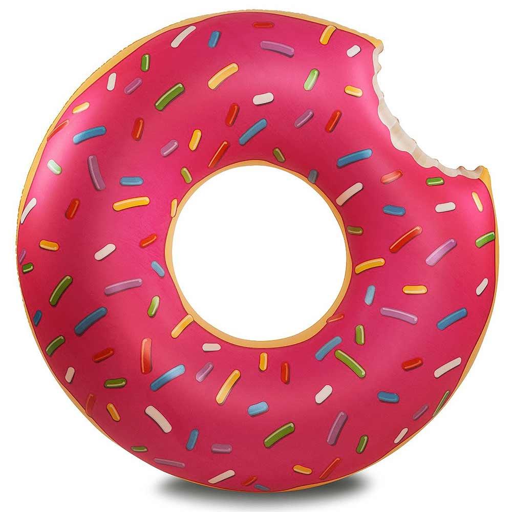 Giant donut, steel de show in het zwembad