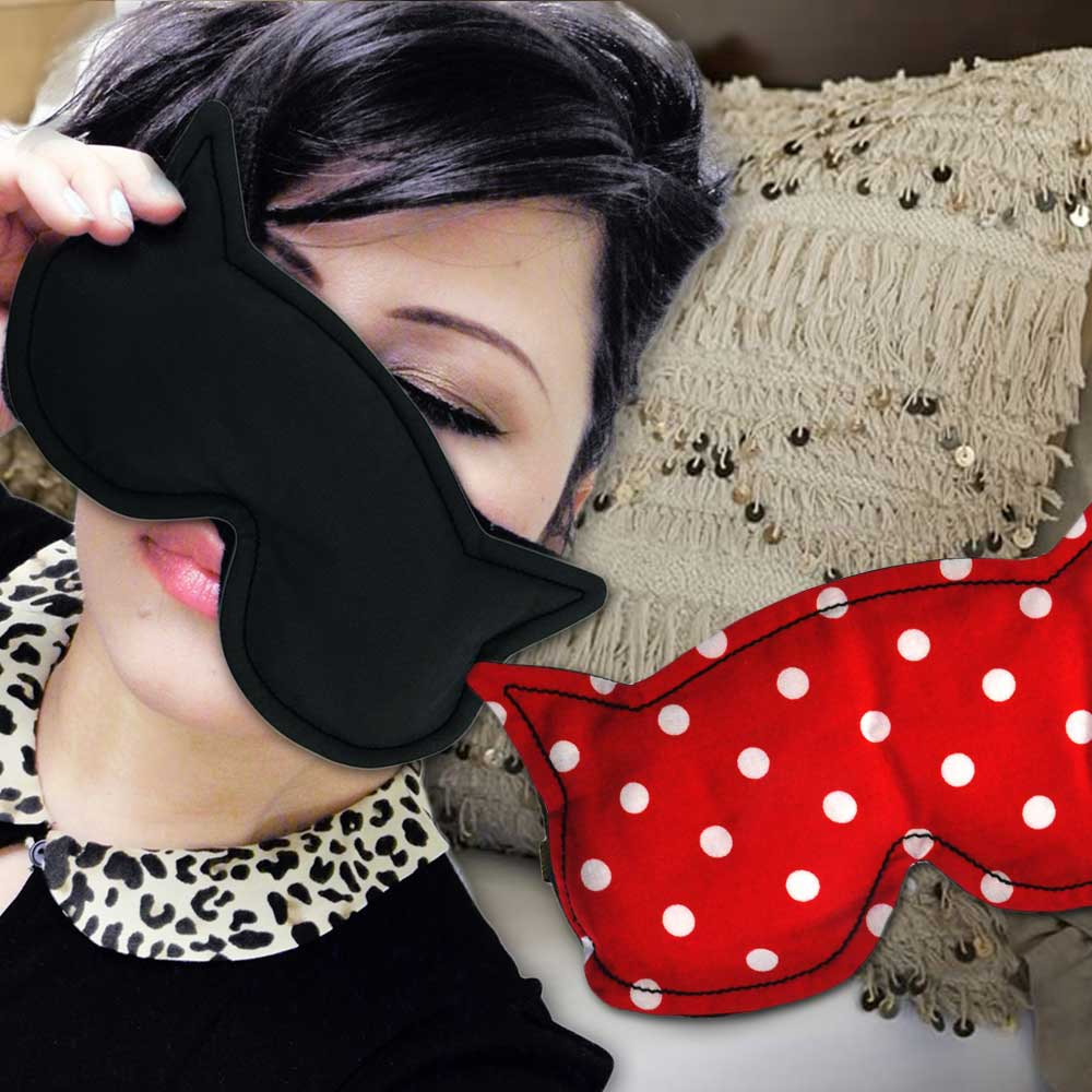 Luna The Cat - Heat & Cooling Eye Mask - Red Polkadots