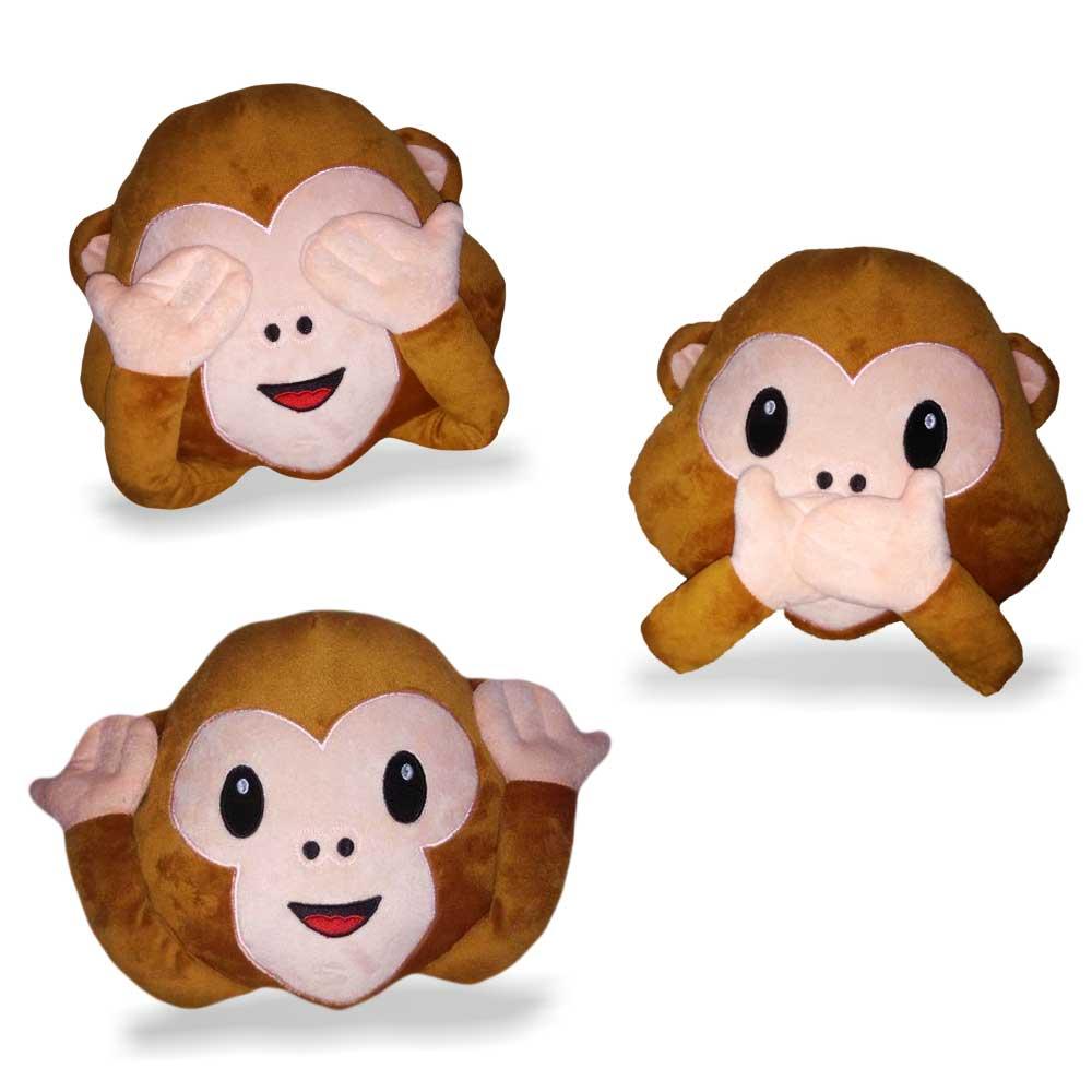 Emoji Kussen monkey met verplaatsbare handjes