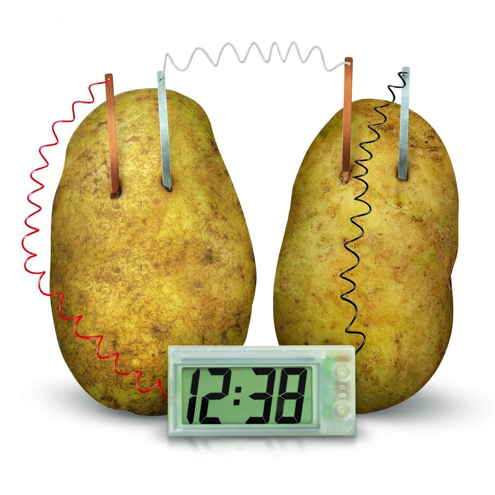 Een digitale klok die op aardappelen werkt.