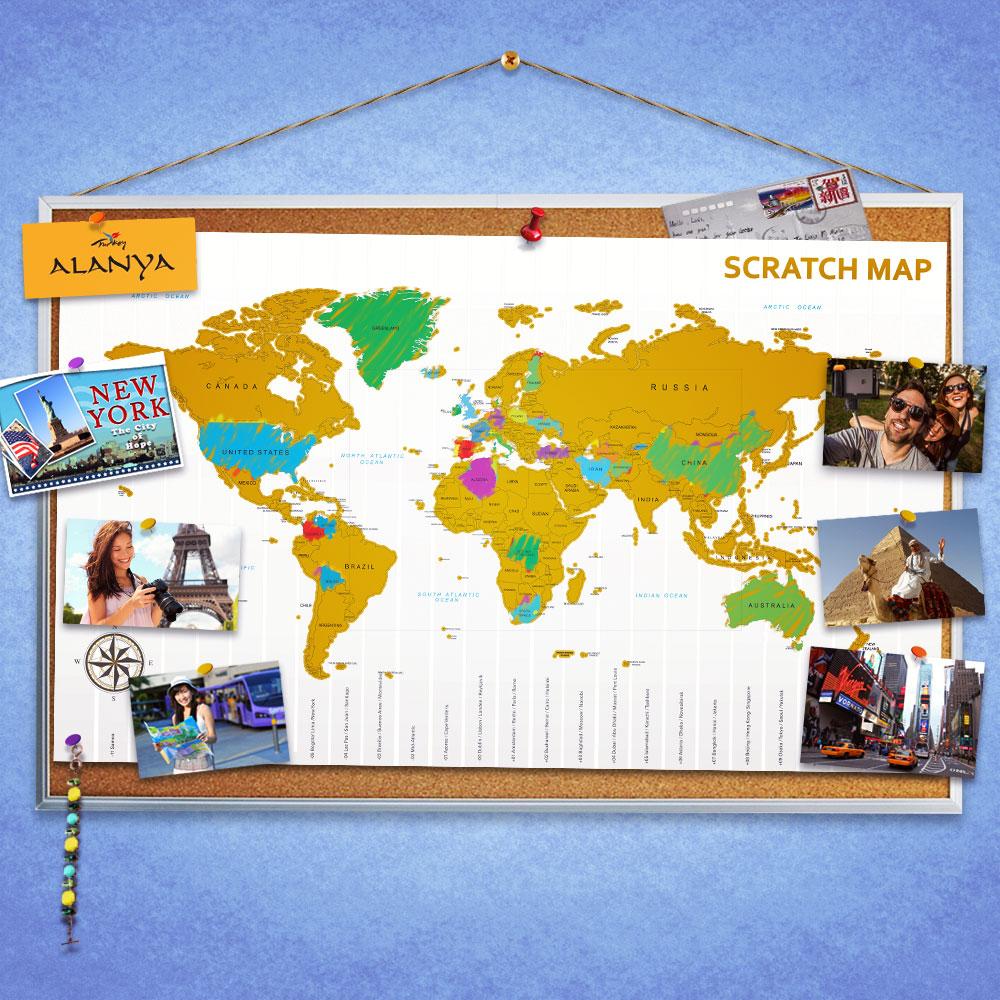 Scratch Map | Kras Wereldkaart | MegaGadgets