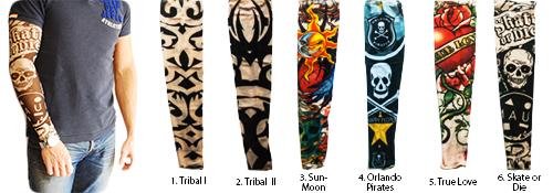 Verschillende sleeves met tatoeages