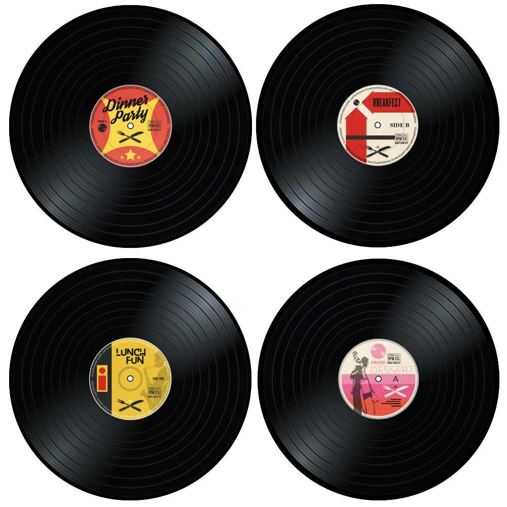Vinyl Placemats 4st, retro gadget