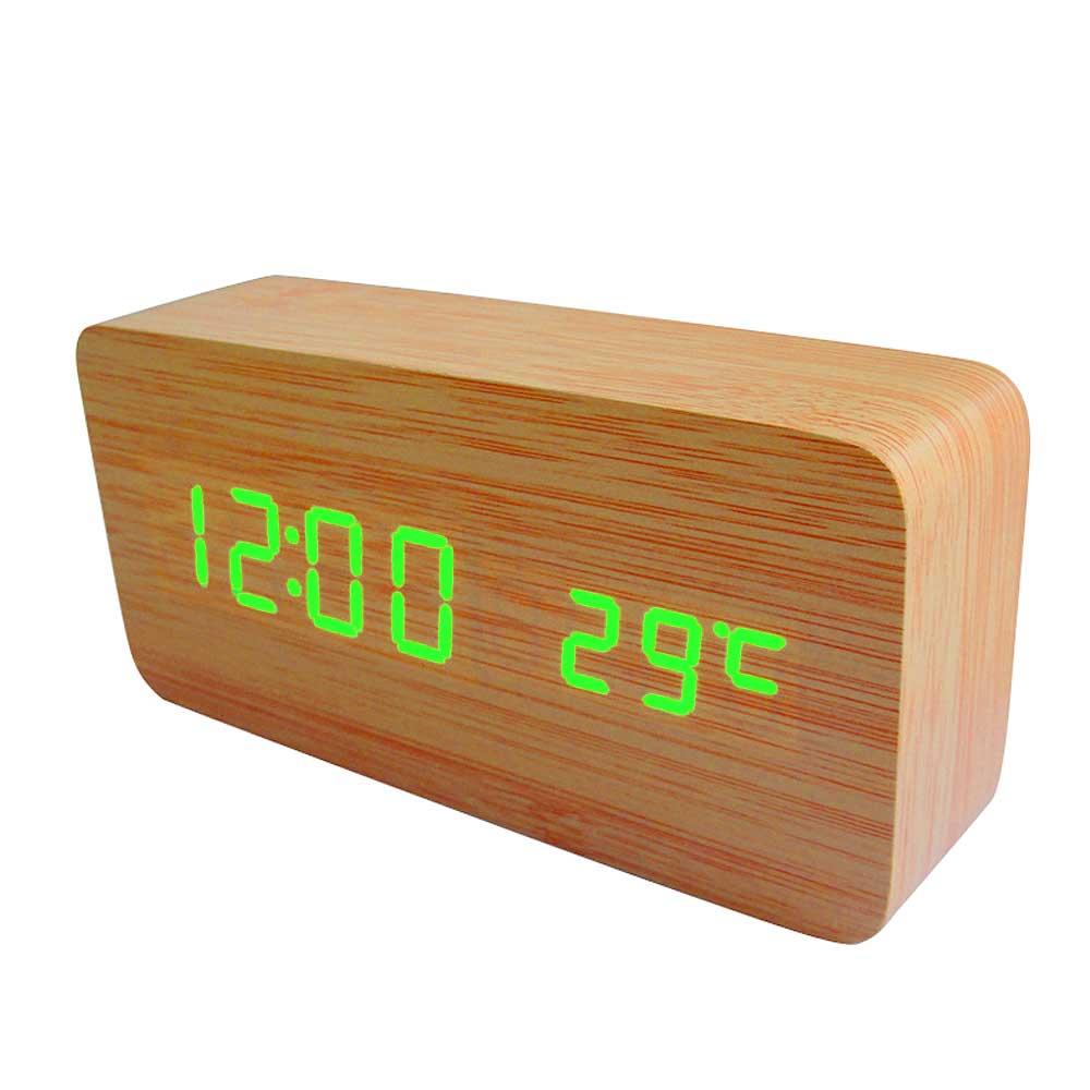 Digitale Houten Klok, ook te gebruiken als wekker