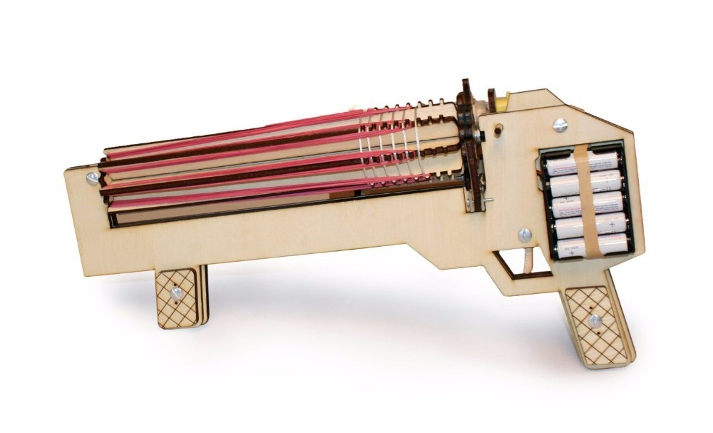 Rubber band machine gun, vetste speel elastiek machine gun