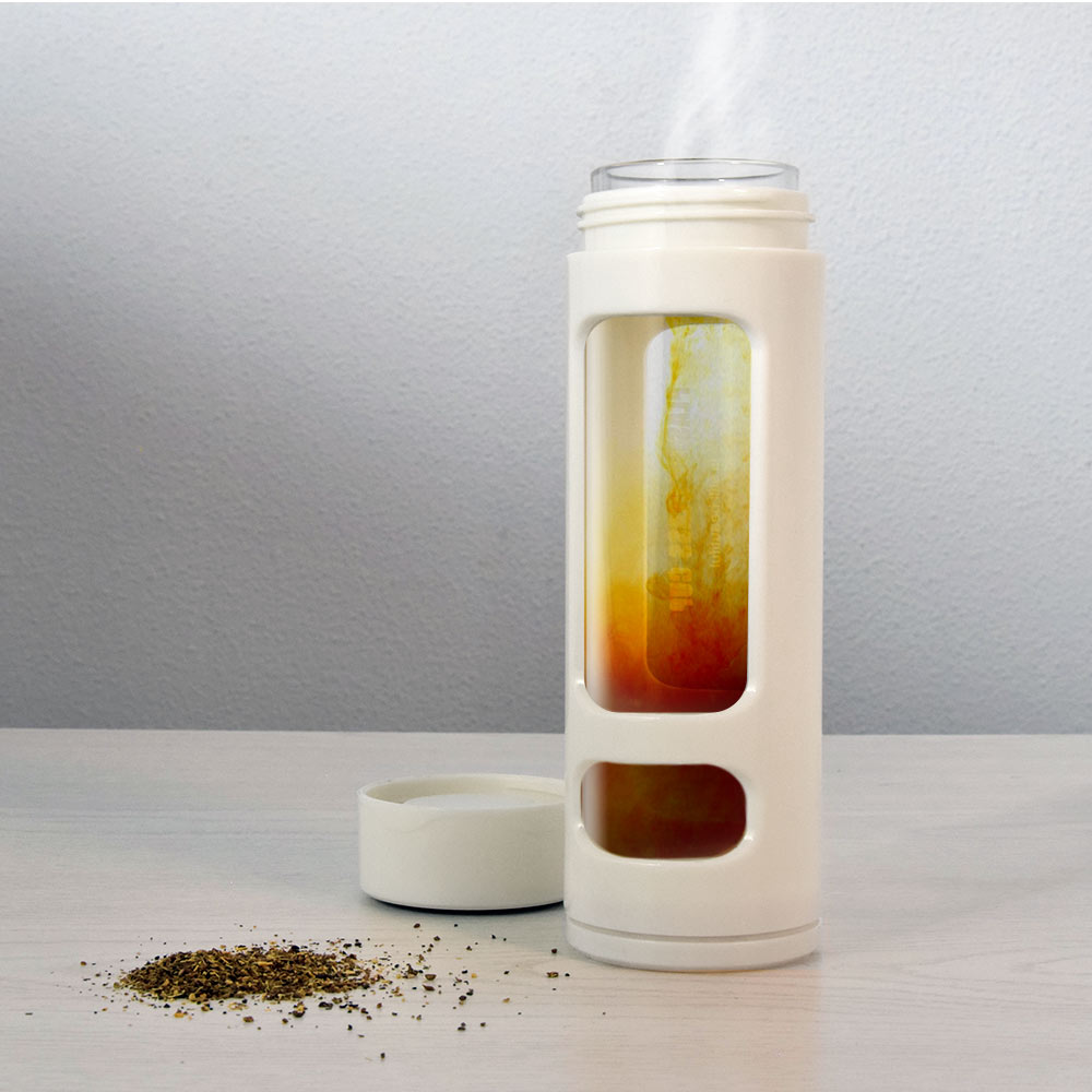Fles met thee ei - Tea infuser-Wit