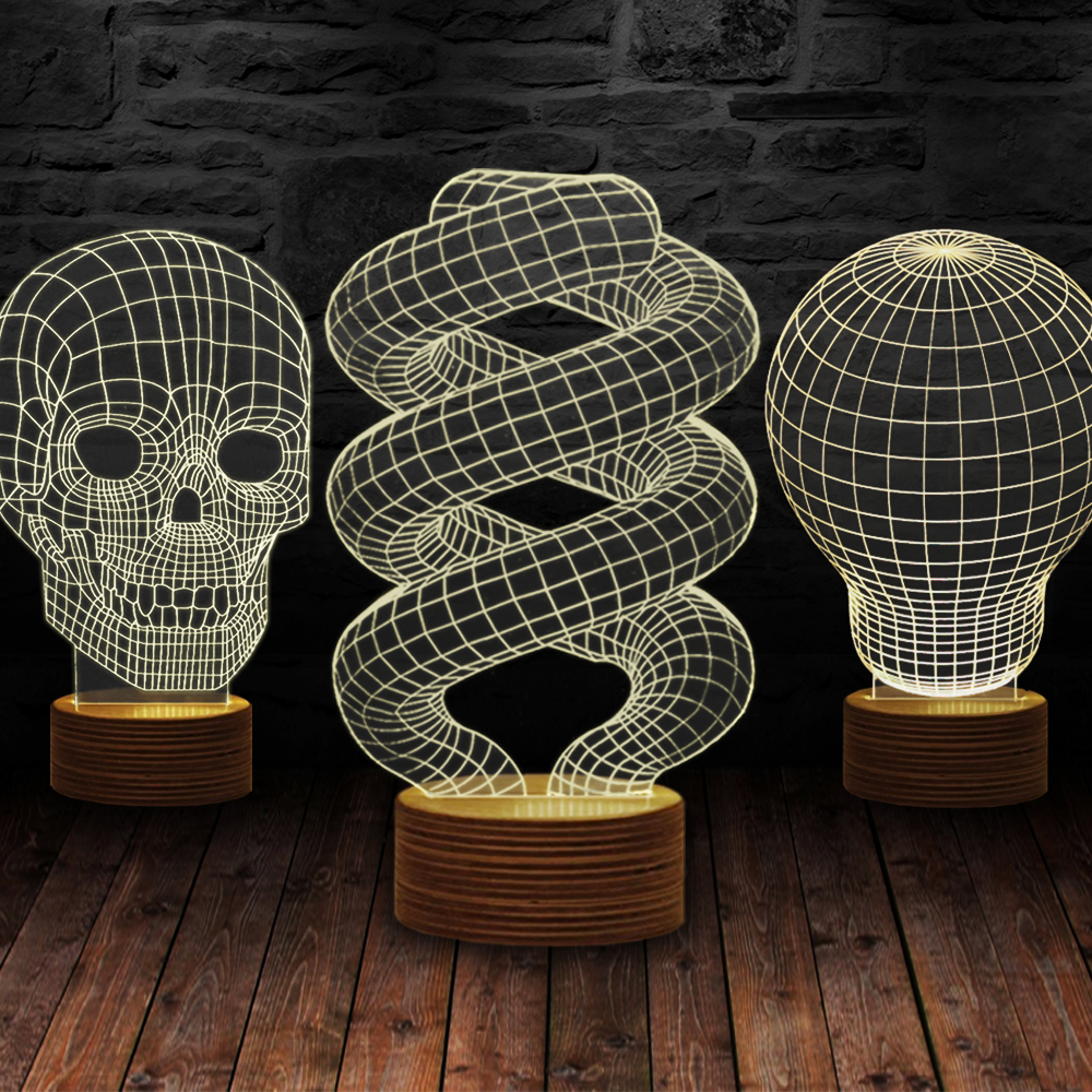 3D illusie Lamp Hout