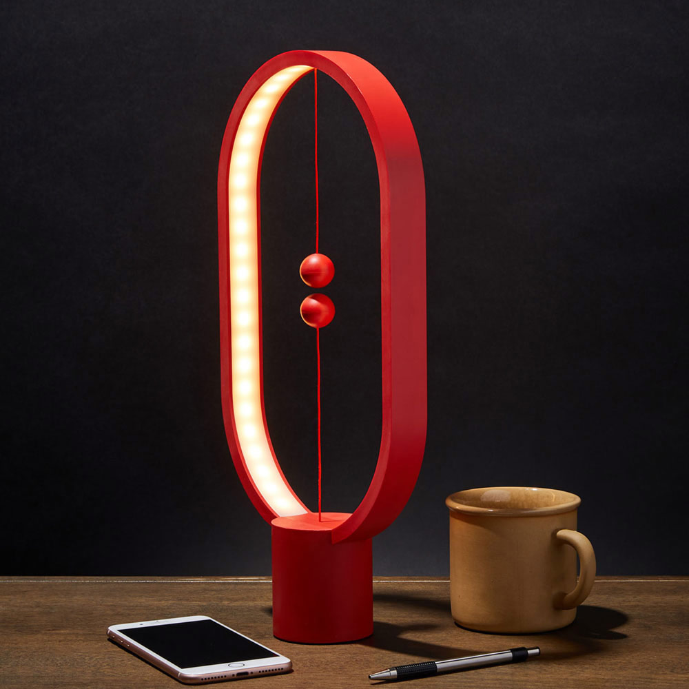 Heng Balance Lamp Oval - Magnetische lamp - Rood - Groot