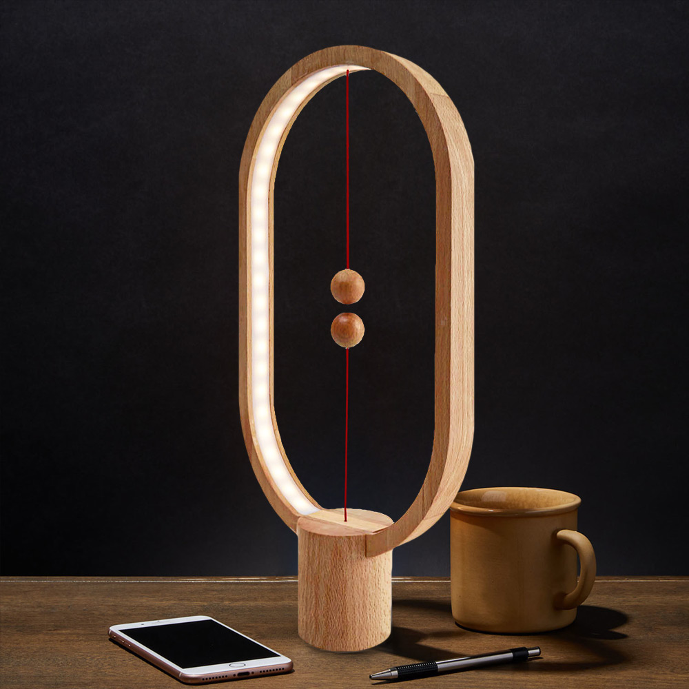 Heng Balance Lamp Oval - Magnetische lamp - Hout - Groot
